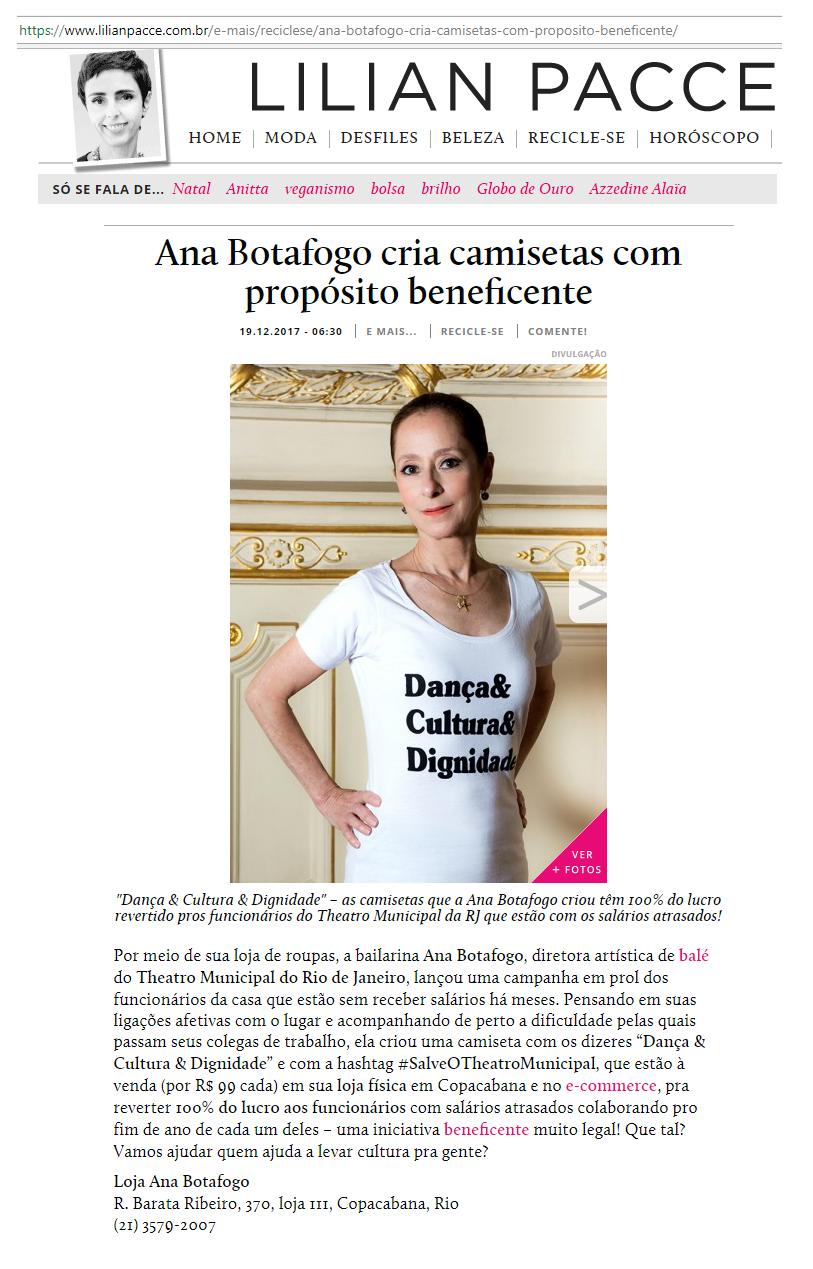 1b6394e6ad LILIAN PACCE  Ana Botafogo cria camisetas com propósito beneficente ...