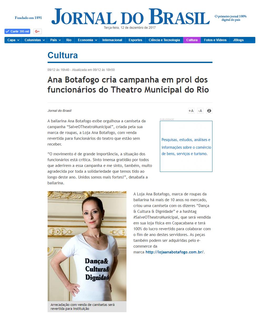 6ae788f2e8 Jornal do Brasil  Ana Botafogo cria campanha em prol dos ...